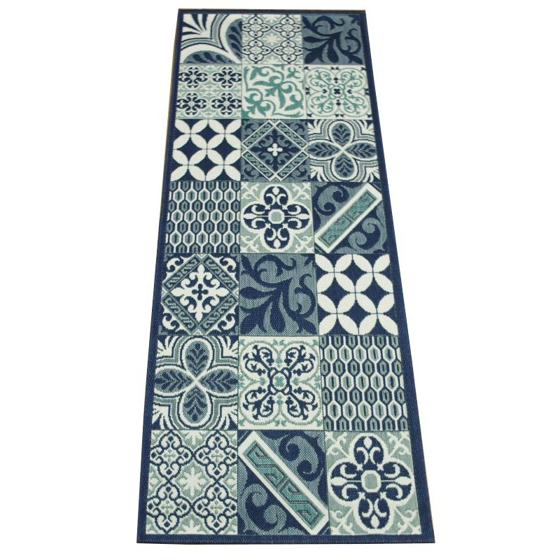 tapis de cuisine long carreaux de ciment bleu star 80x200cm. Black Bedroom Furniture Sets. Home Design Ideas