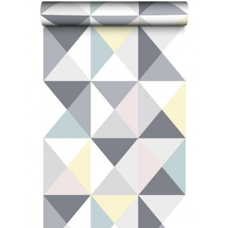 Papier peint lisse Polygone triangles pastel - Graham & Brown
