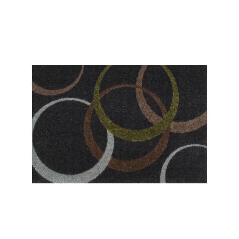 Paillasson gris foncé Cercles marron et vert - ME GUSTA - 40x60cm