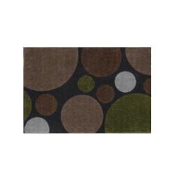 Paillasson gris foncé Pois marron et vert - ME GUSTA - 40x60cm