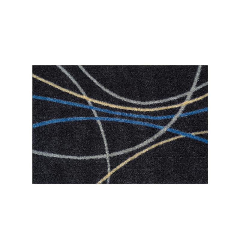 Paillasson Courbes bleues et grises - ME GUSTA - 40x60cm