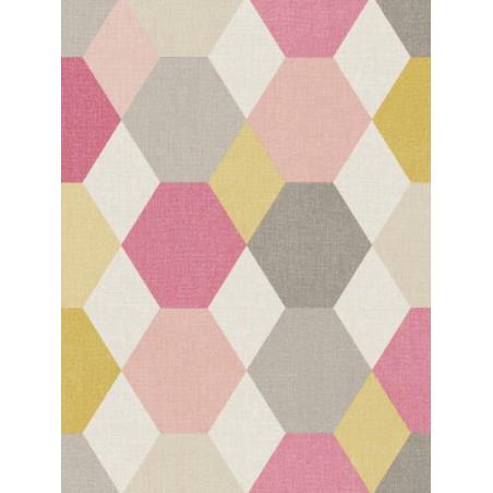Papier peint géométrique Arlequin rose/gris - SWING - Caselio