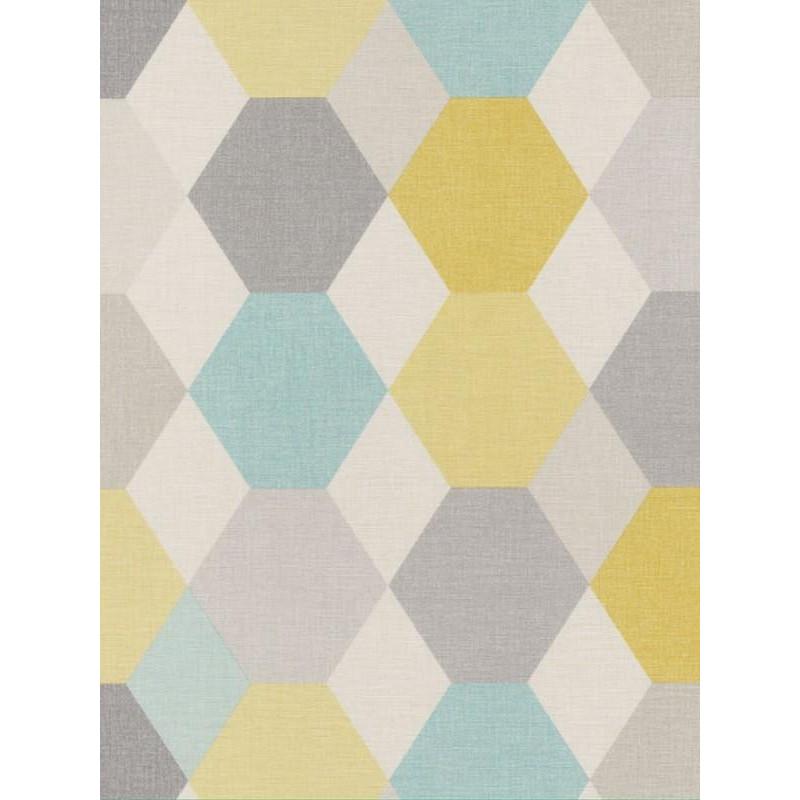Papier peint Arlequin turquoise jaune - SWING - Caselio - SNG68916640