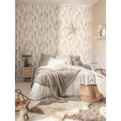 Papier peint à rayures Dot beige/gris - SWING - Caselio