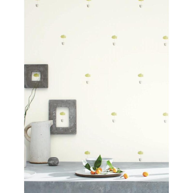 Papier peint Pots gris blanc - BON APPETIT - Caselio - BAP68422001