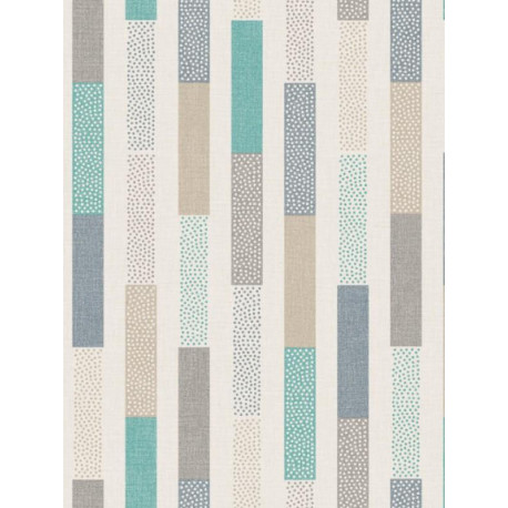 Papier peint Rayure Dot turquoise beige - SWING - Caselio - SNG68896799
