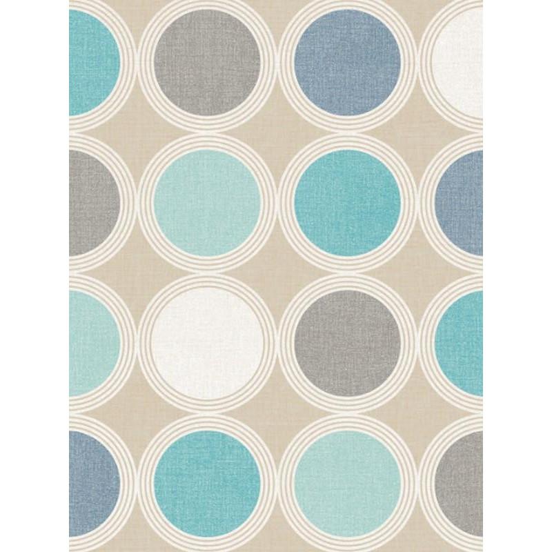 papier peint motifs rond bleu et gris swing caselio