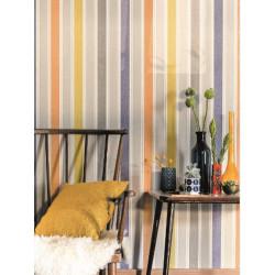 Papier peint à rayure matelas jaune/orange - SWING - Caselio