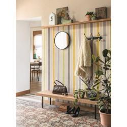 Papier peint à rayure matelas jaune/vert - SWING - Caselio