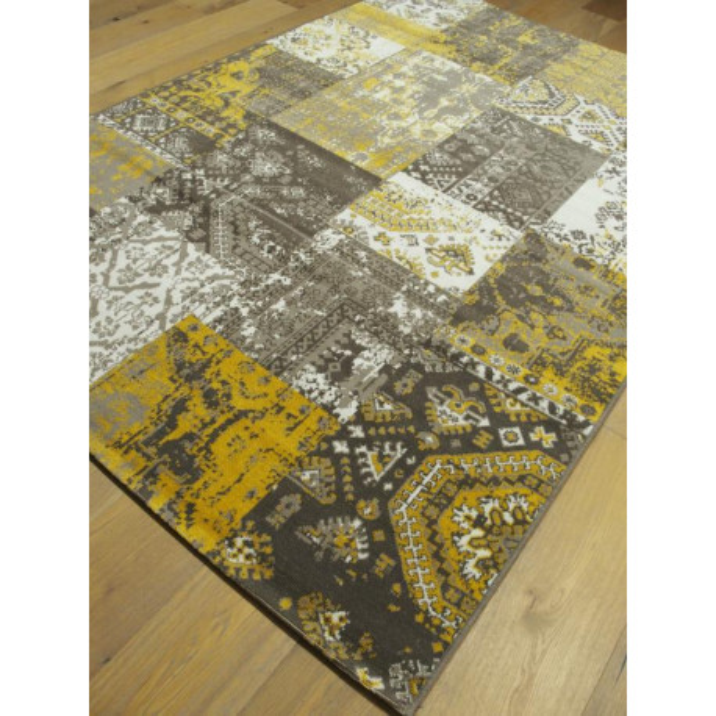 Tapis patchwork jaune 160x230cm - VINTAGE