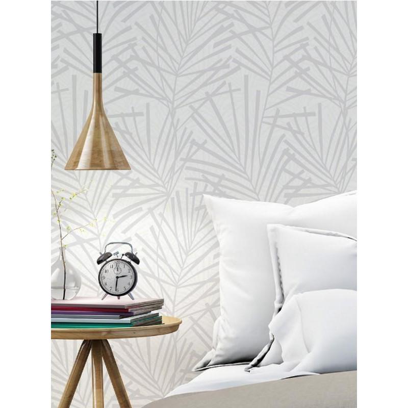 papier peint vinyle sur intiss motif feuille palmier gris et blanc. Black Bedroom Furniture Sets. Home Design Ideas