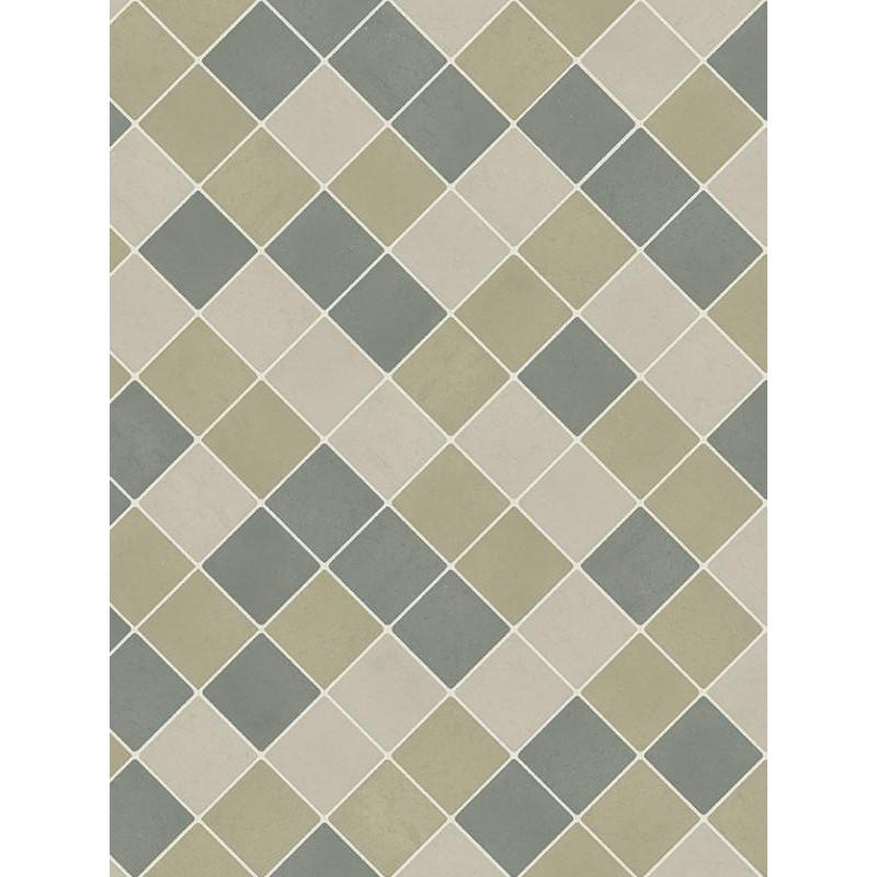 Revêtement lino PVC - 2m - carrelage beige/vert Beauflor Aberdeen 521M