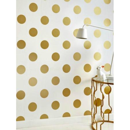 Papier peint vinyle sur intissé motif pois doré DOTTY Gold - GRAHAM & BROWN