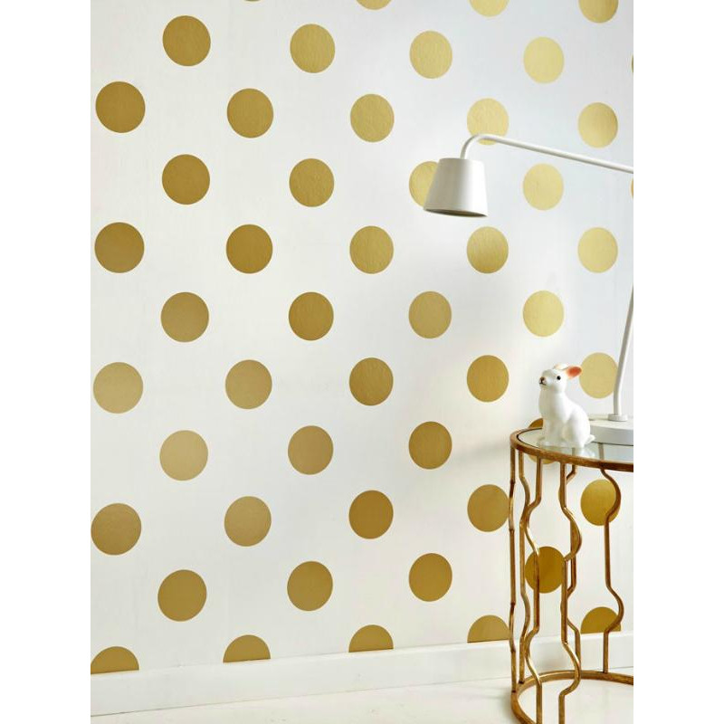 papier peint vinyle sur intiss motif pois or dotty gold. Black Bedroom Furniture Sets. Home Design Ideas