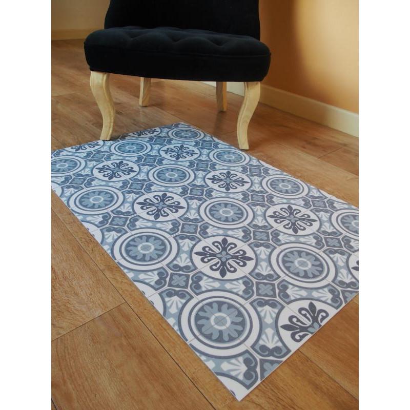 Tapis vinyle PVC - Faro bleu - 66x100cm
