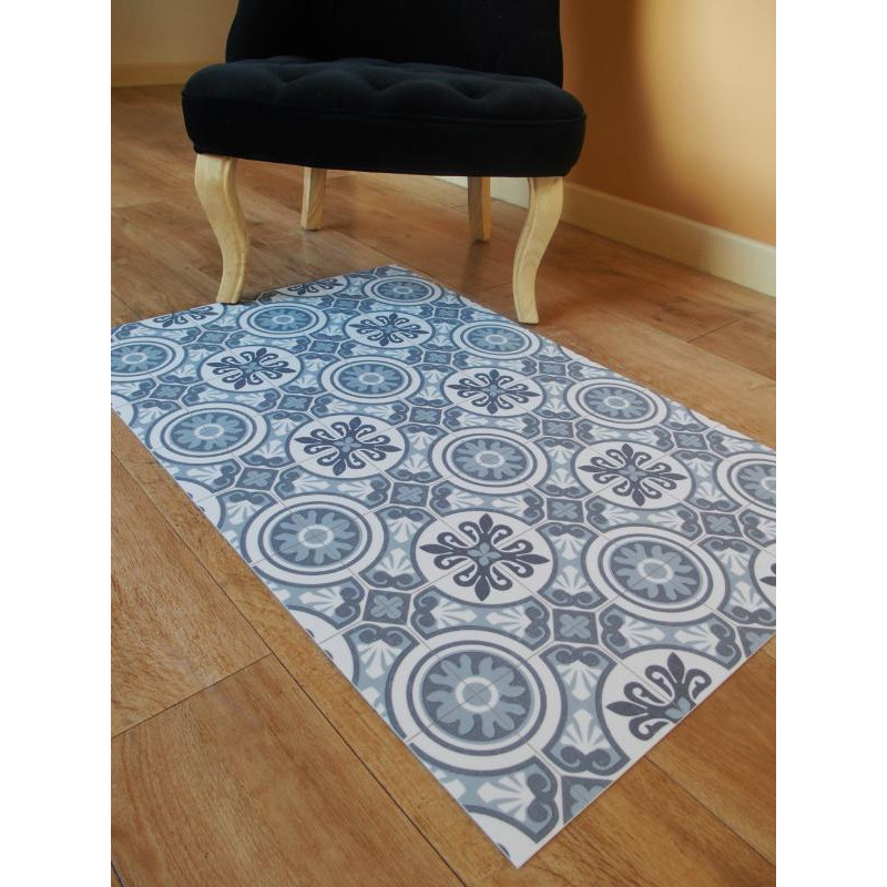 tapis vinyle pvc faro bleu 66x100cm. Black Bedroom Furniture Sets. Home Design Ideas