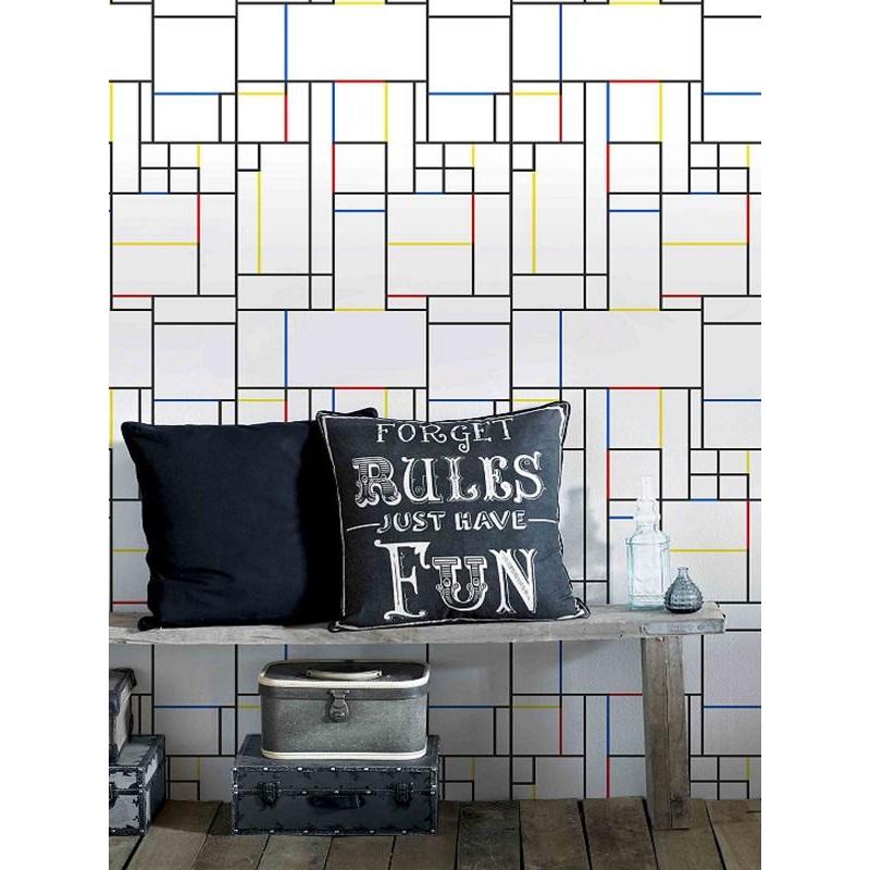 Papier peint VASSILY géométrique style Mondrian - Graham & Brown