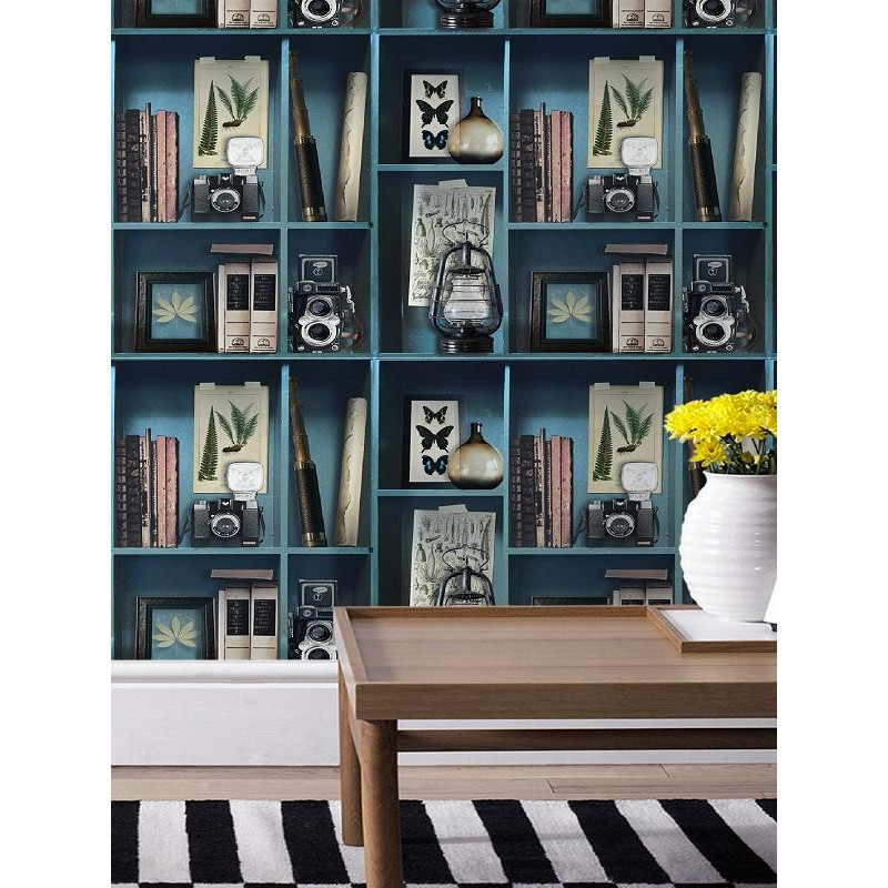 papier peint cabinet de curiosite effet trompe l 39 oeil. Black Bedroom Furniture Sets. Home Design Ideas
