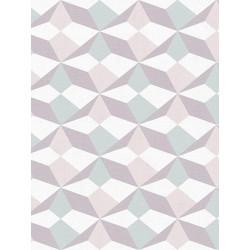 Papier peint intissé origami blanc/bleu/saumon/argent - AS CREATION