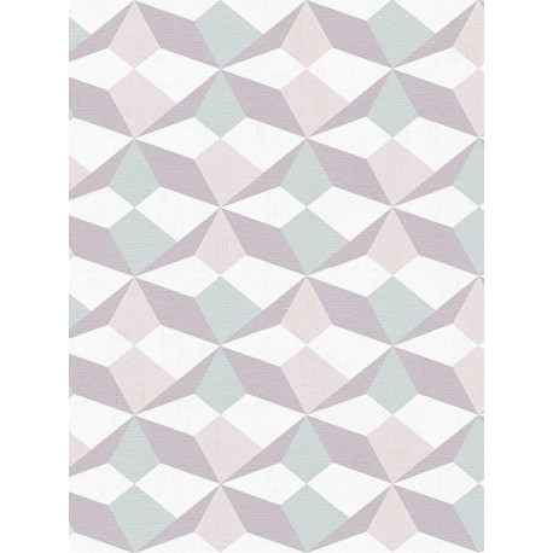 Papier peint Origami vert, rose et violet - SCANDINAVIAN STYLE - AS Creation - 341333
