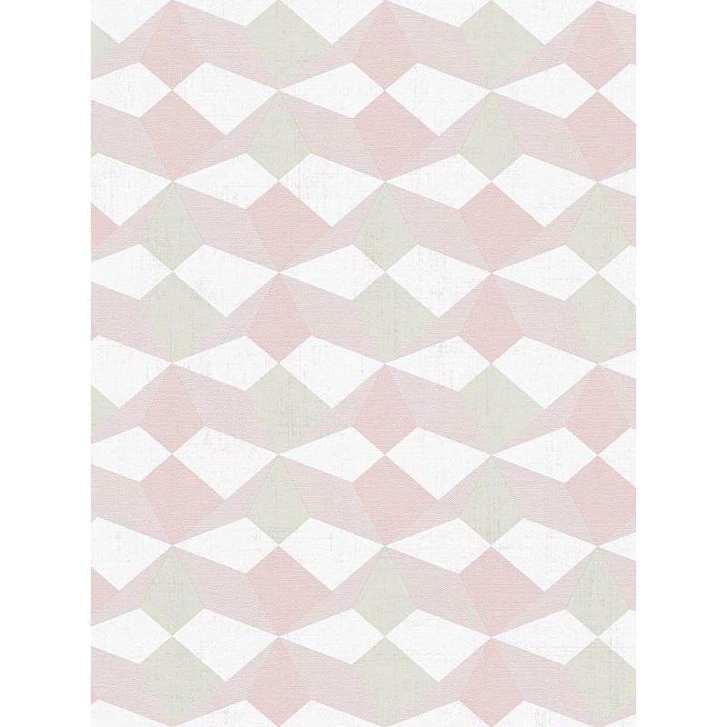 Papier Peint Graphique Origami Beige Saumon Rose Et Kaki