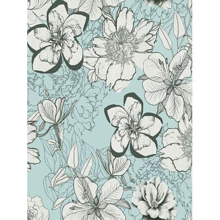 Papier peint urban flower bleu - Urban Flowers - AS CREATION
