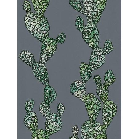 Papier peint Cactus vert et gris anthracite - URBAN FLOWERS - AS Creation - 327993