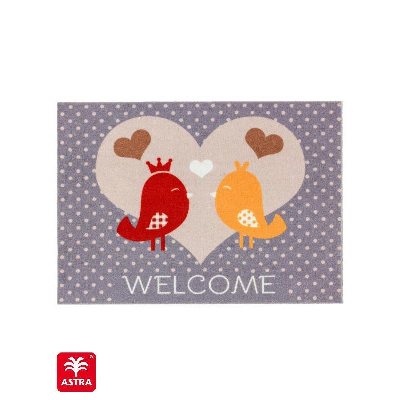 """Paillasson intérieur """"Oiseaux Welcome"""" - Happy Home ASTRA 50x70"""