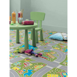 Revêtement PVC - Largeur 2m - Exclusive 300 Play - Circuit enfant MACADAM GREEN - Tarkett