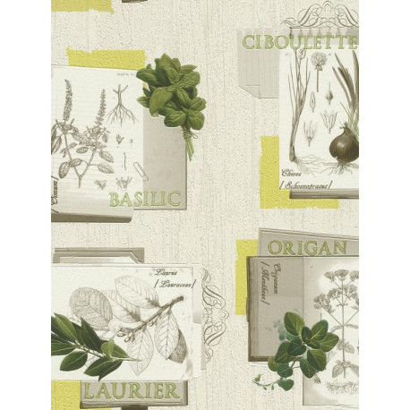 Papier peint cuisine Plantes, vert. Deco relief - Rasch