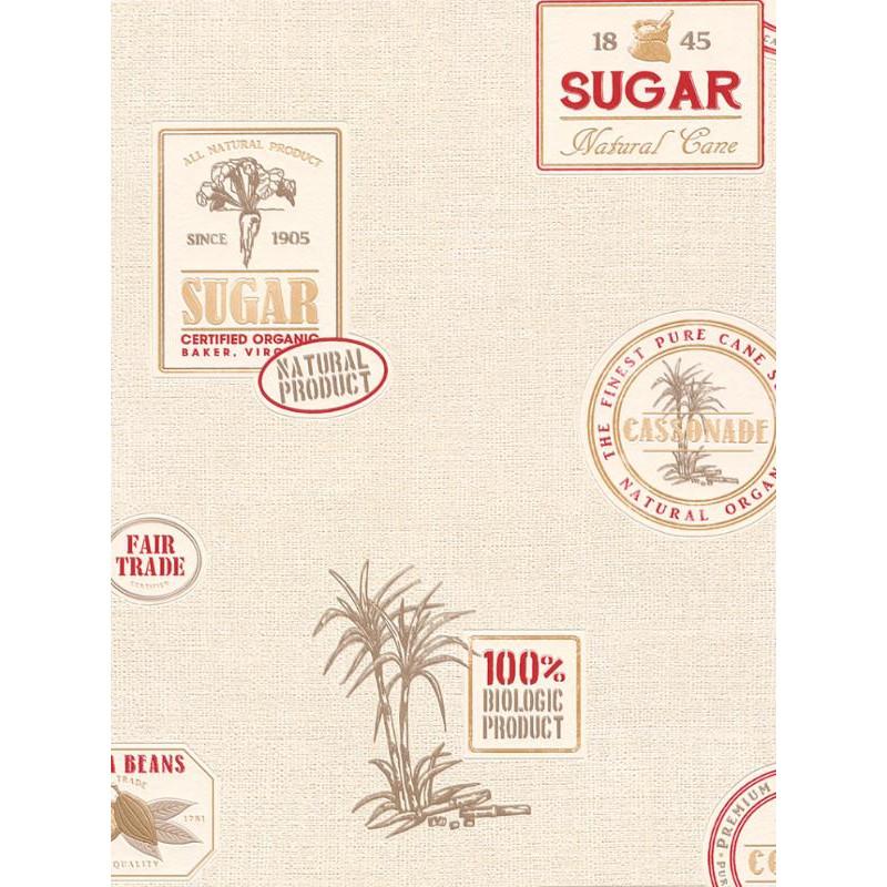Papier peint cuisine Cacao beige et rouge. Aqua relief - Rasch