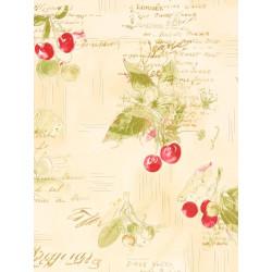 Papier peint cuisine Cerise, vert et rouge. Aqua relief - Rasch