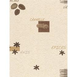 Papier peint cuisine Epices beige et marron. Aqua relief - Rasch