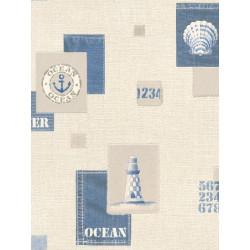 Papier peint Marin beige et bleu. Aqua relief - Rasch