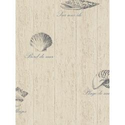 Papier peint salle de bain Coquillages crème. Aqua relief - Rasch