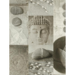 Papier peint salle de bain Bouddha Zen gris. Aqua relief - Rasch