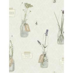 Papier peint beige motif Herbarium pastel. Deco relief - Rasch