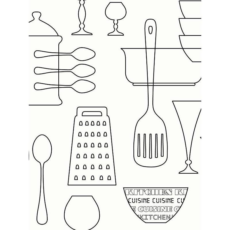 Papier peint Cuisine moderne, blanc et gris - UGEPA