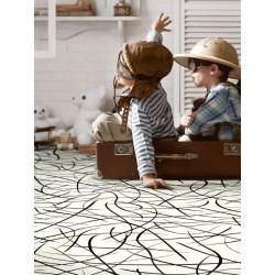 Revêtement PVC - Largeur 3m - Splash blanc motif noir - Beauflor