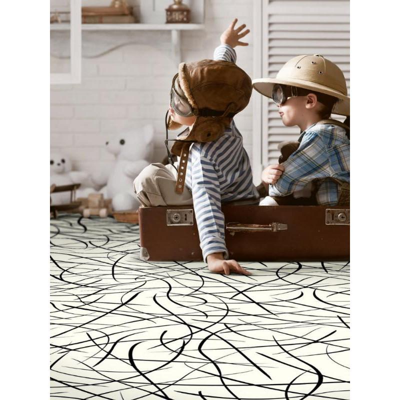 Revêtement PVC - Largeur 3m - Splash blanc motif noir - Tarkett