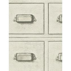 Papier peint intissé Casier Bois blanc beige - CRISPY PAPER Rasch
