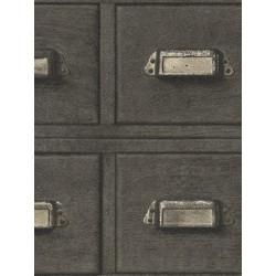 Papier peint intissé Casier Bois gris - CRISPY PAPER Rasch