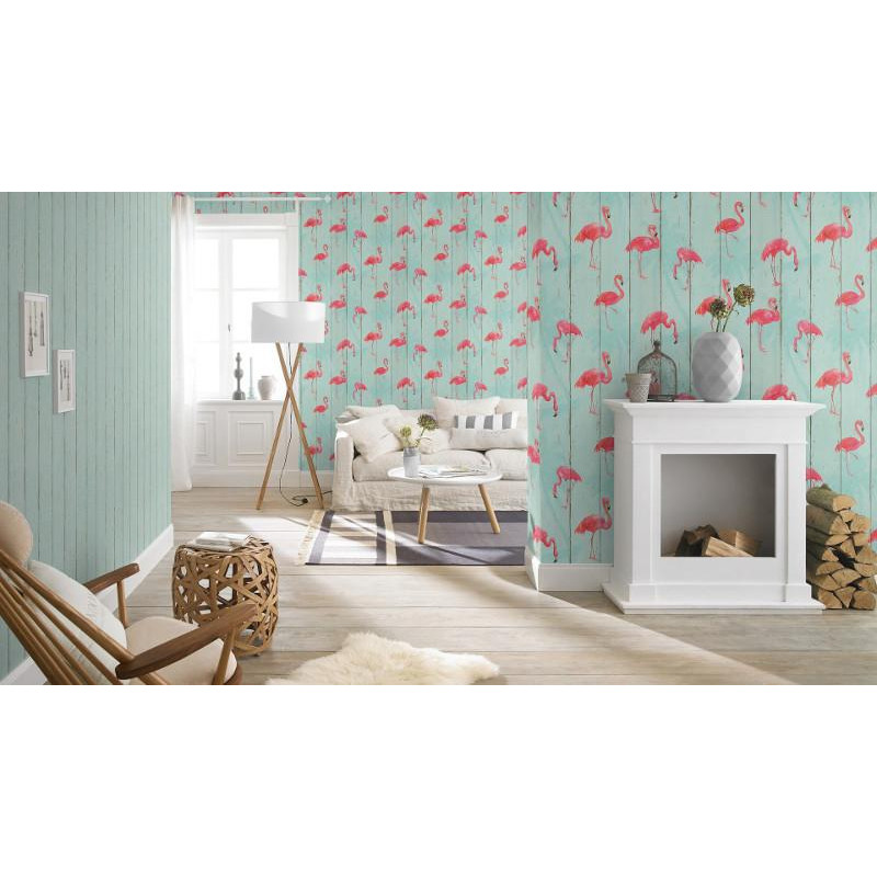papier peint intiss flamants rose b b home passion 5 rasch. Black Bedroom Furniture Sets. Home Design Ideas