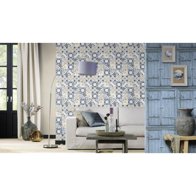 papier peint intiss carreaux de ciment bleu crispy paper rasch. Black Bedroom Furniture Sets. Home Design Ideas
