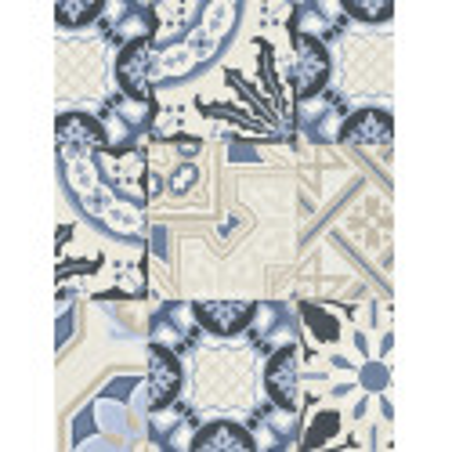 Papier peint intissé Carreaux de ciment bleu - CRISPY PAPER Rasch