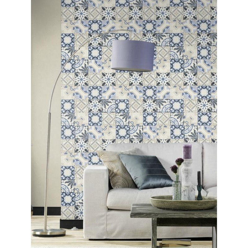 papier peint intiss carreaux de ciment bleu crispy. Black Bedroom Furniture Sets. Home Design Ideas