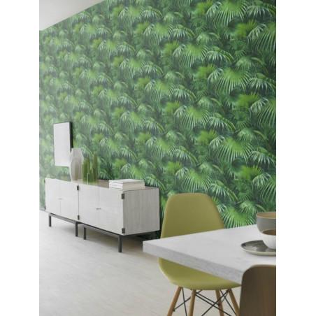 Papier peint intissé Tropique feuillage vert - CRISPY PAPER Rasch