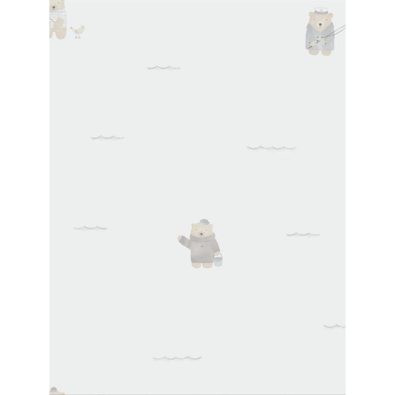 Papier peint intissé enfant à motif Ours Plage beige - MY LITTLE WORLD Caselio