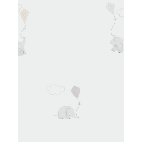 Papier peint intissé enfant à motif Elephants beige - MY LITTLE WORLD Caselio
