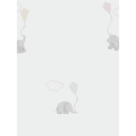 Papier peint intissé enfant à motif Elephants rose - MY LITTLE WORLD Caselio